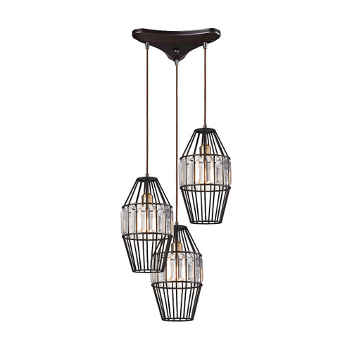 ELK Lighting 14248/3 Yardley 3-Light Triangular Pendant Fixture in Oil Rubbed Bronze with Clear Crystal on Wire Cages