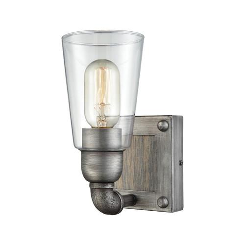 ELK Lighting 14470/1 Platform 1-Light Vanity Lamp in Weathered Zinc with Clear Glass