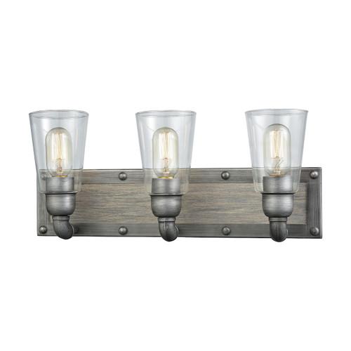 ELK Lighting 14472/3 Platform 3-Light Vanity Lamp in Weathered Zinc with Clear Glass