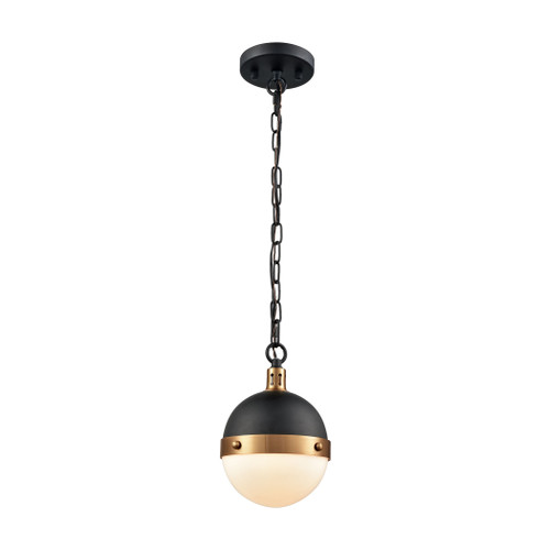 ELK Lighting 14474/1 Harmelin 1-Light Mini Pendant in Matte Black and Satin Brass with White Opal Glass
