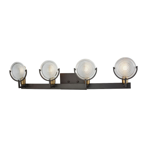 ELK Lighting 14503/4 Ocular 4-Light Vanity Lamp in Oil Rubbed Bronze and Satin Brass with Clear Railroad Glass
