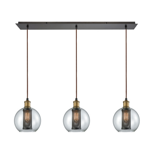 ELK Lighting 14530/3LP Bremington 3-Light Linear Mini Pendant Fixture in Oiled Bronze with Clear Glass and Cage