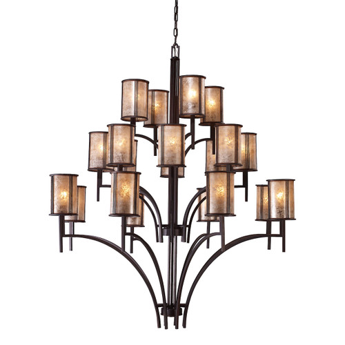 ELK Lighting 15037/8+8+4 Barringer 8+8+4-Light Chandelier in Aged Bronze with Tan Mica Shades