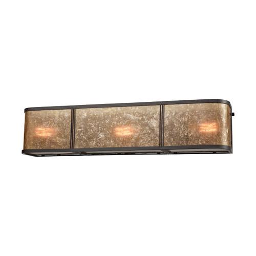 ELK Lighting 15038/3 Barringer 3-Light Vanity Sconce in Oil Rubbed Bronze with Tan Mica Shade