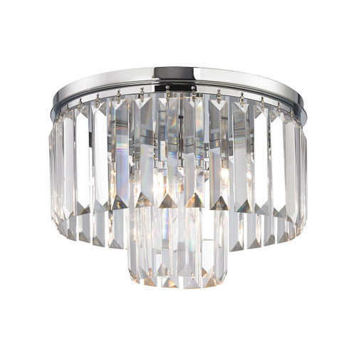 ELK Lighting 15213/1 Palacial 1-Light Flush Mount in Polished Chrome with Clear Crystal