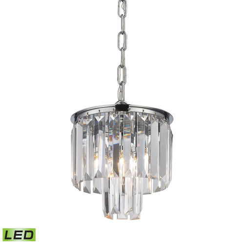 ELK Lighting 15214/1-LED Palacial 1-Light Mini Pendant in Polished Chrome with Clear Crystal - Includes LED Bulb
