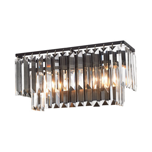 ELK Lighting 15221/2 Palacial 2-Light Vanity Sconce in Oil Rubbed Bronze with Clear Crystal