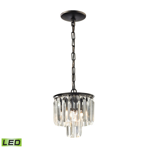 ELK Lighting 15224/1-LED Palacial 1-Light Mini Pendant in Oil Rubbed Bronze with Clear Crystal - Includes LED Bulb
