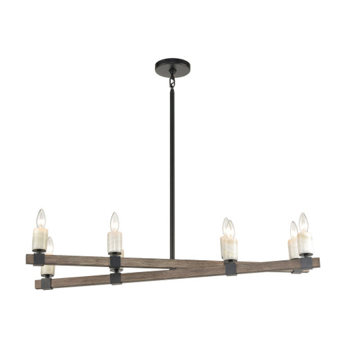 ELK Lighting 15463/8 Stone Manor 8-Light Island Light in Aspen and Matte Black