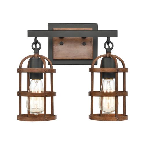 ELK Lighting 15483/2 Millville 2-Light Vanity Light in Matte Black and Dark Oak