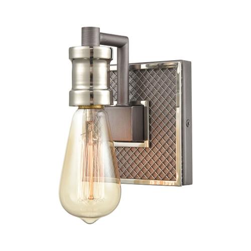 ELK Lighting 15491/1 Gridiron 1-Light Vanity Light in Weathered Zinc and Polished Nickel