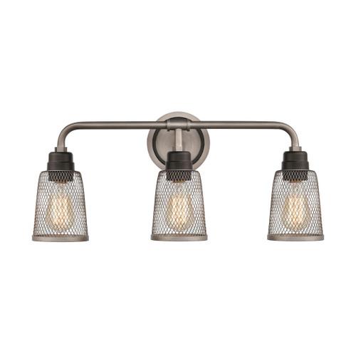 ELK Lighting 15653/3 Glencoe 3-Light Vanity Light in Oil Rubbed Bronze with Weathered Zinc Metal Mesh
