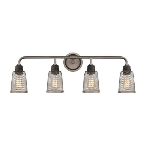 ELK Lighting 15654/4 Glencoe 4-Light Vanity Light in Oil Rubbed Bronze with Weathered Zinc Metal Mesh