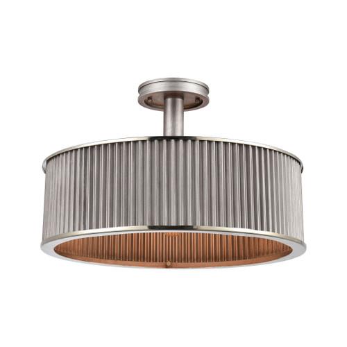 ELK Lighting 15925/3 Corrugated Steel 3-Light Semi Flush Mount in Weathered Zinc with Corrugated Metal