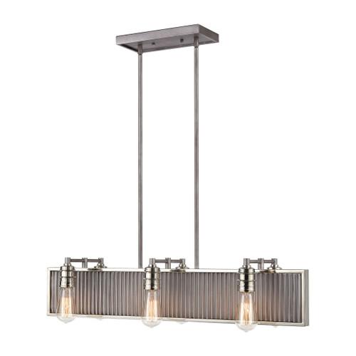 ELK Lighting 15928/6 Corrugated Steel 6-Light Linear Chandelier in Weathered Zinc