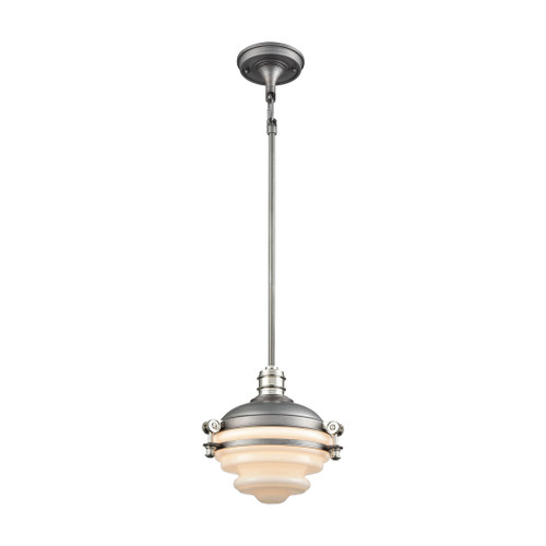 ELK Lighting 16106/1 Riley 1-Light Mini Pendant in Weathered Zinc and Polished Nickel with Opal White Glass