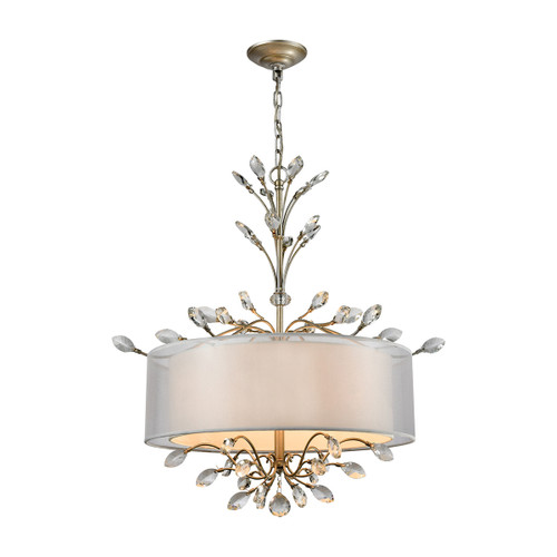 ELK Lighting 16282/4 Asbury 4-Light Chandelier in Aged Silver with Organza and White Fabric Shade