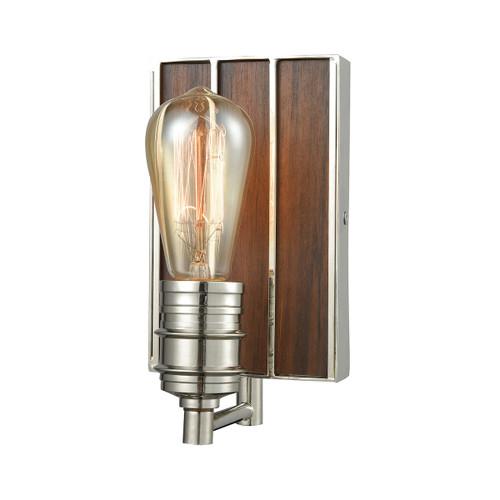 ELK Lighting 16430/1 Brookweiler 1-Light Vanity Lamp in Polished Nickel with Dark Wood Backplate
