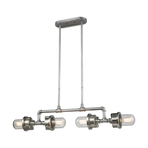 ELK Lighting 16503/4 Briggs 4-Light Island Light in Weathered Zinc and Satin Nickel with Seedy Glass