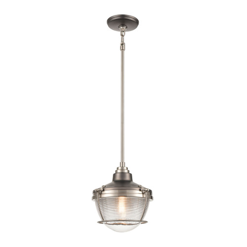 ELK Lighting 16515/1 Seaway Passage 1-Light Mini Pendant in Black Nickel and Satin Nickel with Clear Ribbed Glass