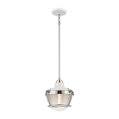 ELK Lighting 16525/1 Seaway Passage 1-Light Mini Pendant in White and Polished Nickel with Clear Ribbed Glass