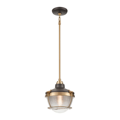 ELK Lighting 16535/1 Seaway Passage 1-Light Mini Pendant in Oil Rubbed Bronze and Satin Brass with Clear Ribbed Glass