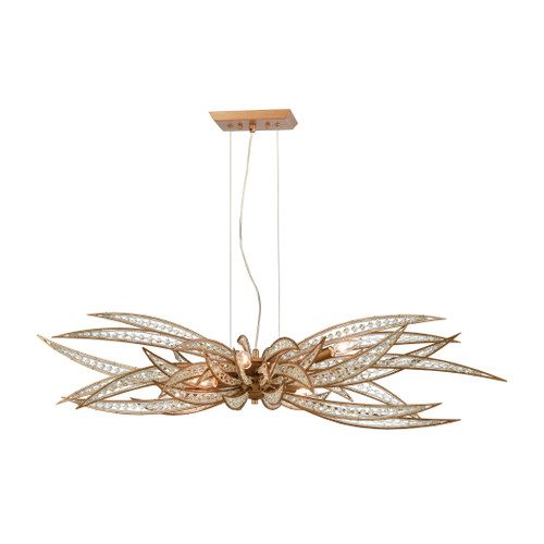 ELK Lighting 16765/6 Naples 6-Light Island Light in Matte Gold with Clear Crystal