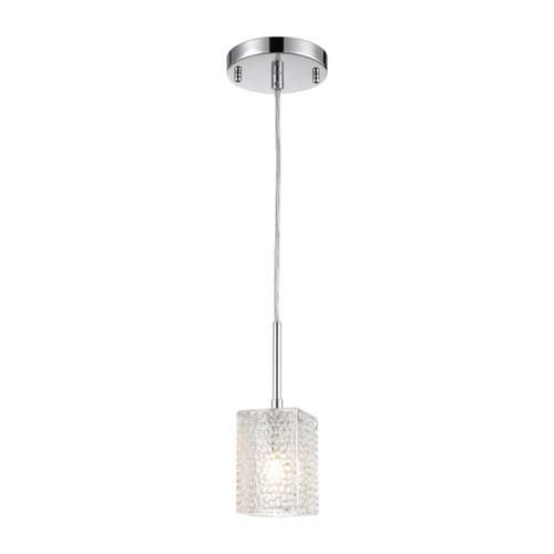 ELK Lighting 17434/1 Ezra 1-Light Mini Pendant in Polished Chrome with Textured Clear Crystal