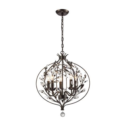 ELK Lighting 18136/5 Circeo 5-Light Chandelier in Deep Rust with Crystal