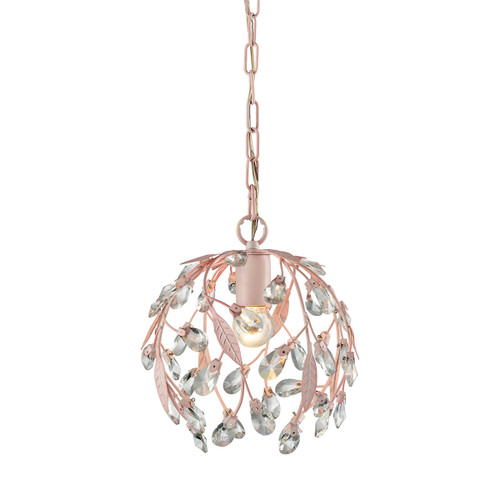 ELK Lighting 18150/1 Circeo 1-Light Mini Pendant in Light Pink with Clear Crystal and Leaves