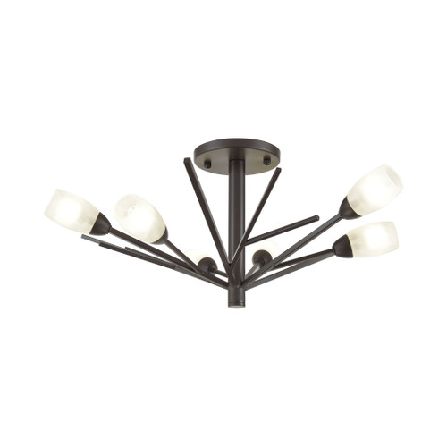 ELK Lighting 18275/6 Ocotillo 6-Light Semi Flush Mount in Oil Rubbed Bronze with Frosted Glass