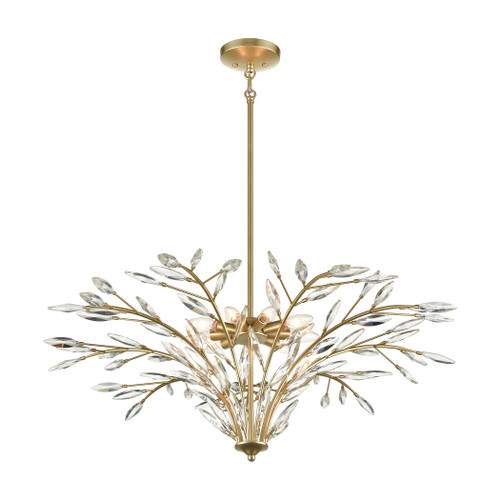 ELK Lighting 18296/9 Flora Grace 9-Light Chandelier in Champagne Gold with Clear Crystal