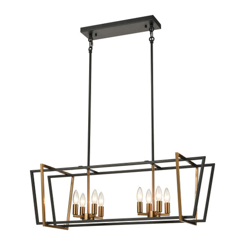 ELK Lighting 18357/8 Bridgette 8-Light Island Light in Matte Black and Satin Brass