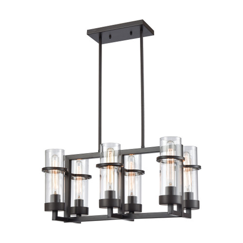 ELK Lighting 21145/6 Holbrook 6-Light Linear Chandelier in Oil Rubbed Bronze with Clear Blown Glass