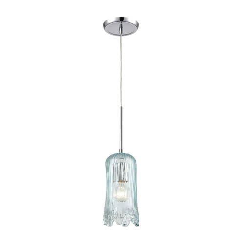 ELK Lighting 21166/1 Hand Formed Glass 1-Light Mini Pendant in Polished Chrome with Aqua Hand Formed Glass