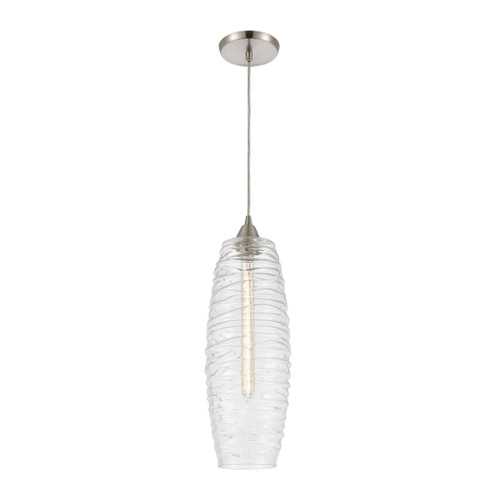 ELK Lighting 21192/1 Liz 1-Light Mini Pendant in Satin Nickel with Clear Glass with Ribbed Swirls