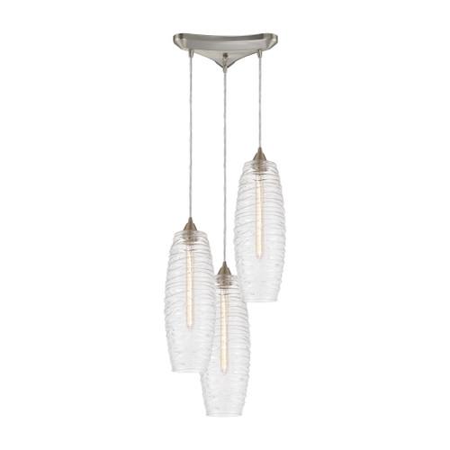 ELK Lighting 21192/3 Liz 3-Light Triangular Mini Pendant Fixture in Satin Nickel with Clear Glass with Ribbed Swirls