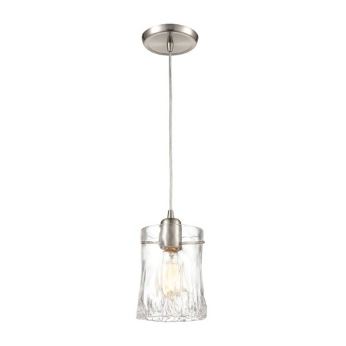 ELK Lighting 21200/1 Hand Formed Glass 1-Light Mini Pendant in Satin Nickel with Clear Hand Formed Glass