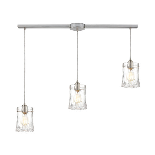 ELK Lighting 21200/3L Hand Formed Glass 3-Light Linear Mini Pendant Fixture in Satin Nickel with Clear Hand-formed Glass