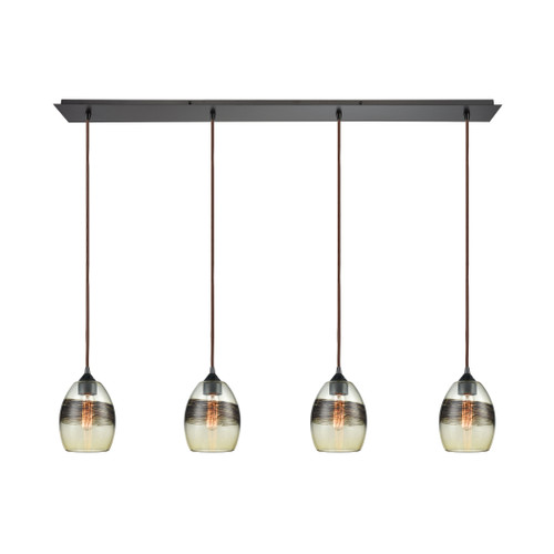 ELK Lighting 25122/4LP Whisp 4-Light Linear Pendant Fixture in Oil Rubbed Bronze with Champagne-plated Glass