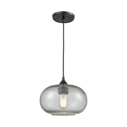 ELK Lighting 25124/1 Volace 1-Light Mini Pendant in Oiled Bronze with Rotunde Gray Speckled Blown Glass