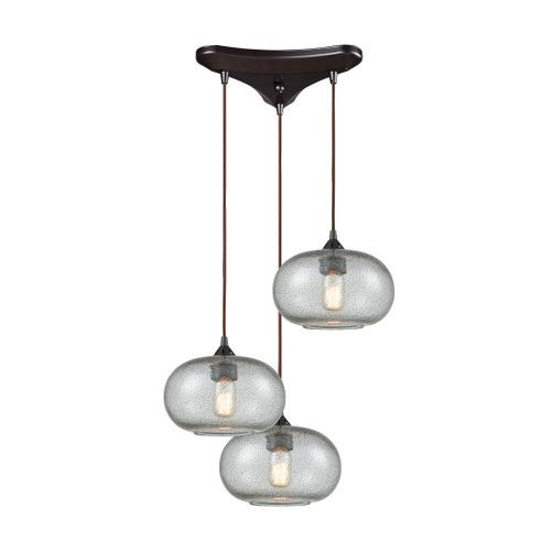 ELK Lighting 25124/3 Volace 3-Light Triangular Pendant Fixture in Oiled Bronze with Rotunde Gray Speckled Blown Glass