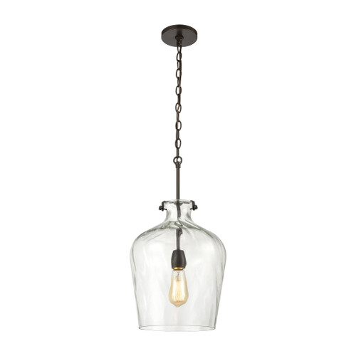 ELK Lighting 30070/1 Tuscan Villa 1-Light Pendant in Oil Rubbed Bronze with Wavy Glass