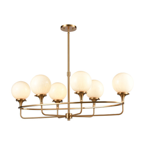 ELK Lighting 30147/6 Beverly Hills 6-Light Island Light in Satin Brass with White Feathered Glass