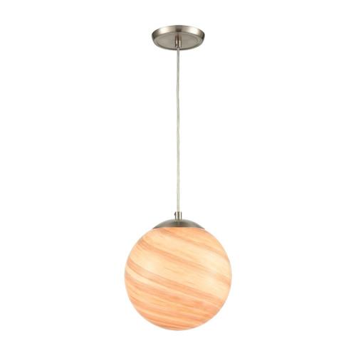 ELK Lighting 30190/1 Planetario 1-Light Mini Pendant in Satin Nickel with Swirling Beige and Tan Glass