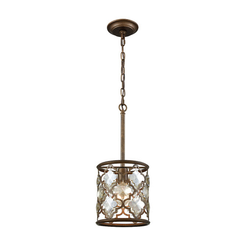 ELK Lighting 31094/1 Armand 1-Light Mini Pendant in Weathered Bronze with Champagne-plated Crystals
