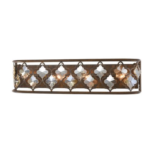 ELK Lighting 31110/4 Armand 4-Light Vanity Light in Weathered Bronze with Amber Teak Crystal