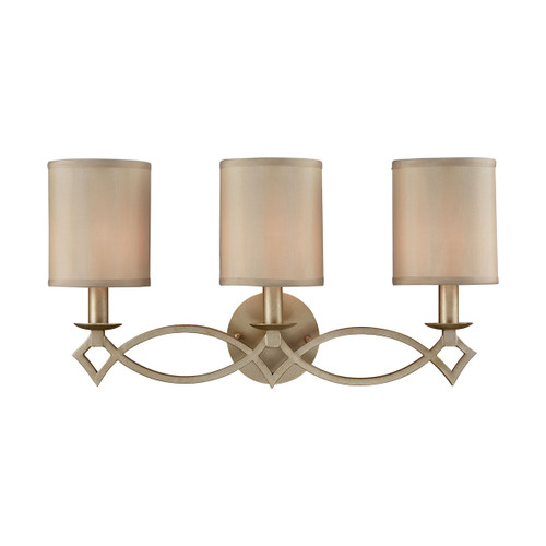 ELK Lighting 31129/3 Estonia 3-Light Vanity Lamp in Aged Silver with Beige Fabric Half-Shades