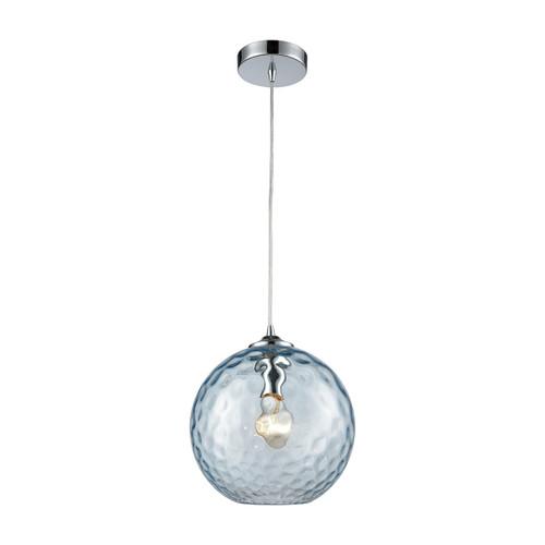 ELK Lighting 31380/1AQ Watersphere 1-Light Mini Pendant in Chrome with Hammered Aqua Glass