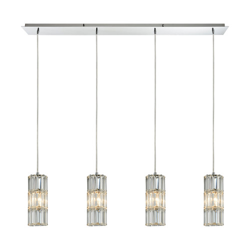 ELK Lighting 31486/4LP Cynthia 4-Light Linear Pendant Fixture in Polished Chrome with Crystal